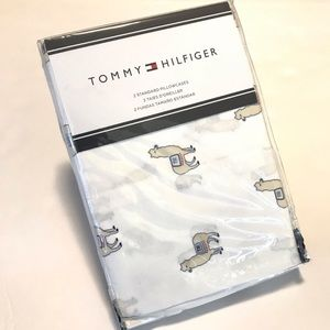 Tommy Hilfiger Pillow Cases Llama Print New White